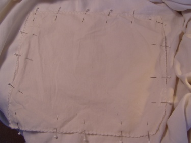 sewing-blog-011 patch for mattress pad with pins all around