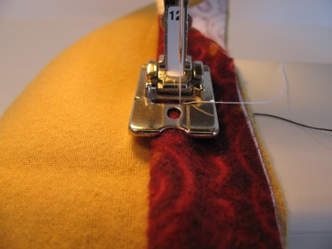 stitching piping to the main fabric, 100
