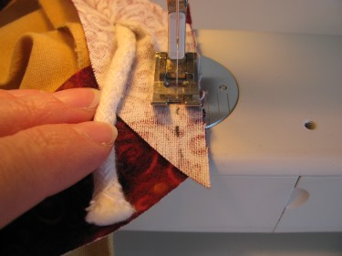 stitching the two ends of strips in piping, 108