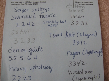 my paper that shows all the tension settings for different fabrics on my serger, overlocker, 138
