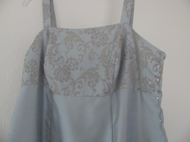 photo of blue brocade taking in the bust on a dress, sewing blog, 224