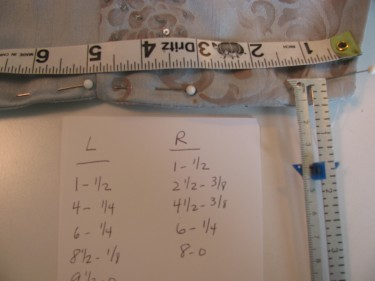 My L and R measurements for taking in the bust on a dress blue brocade sewing blog 225