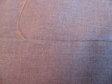 hand sew a hem, cotton fabric, 262