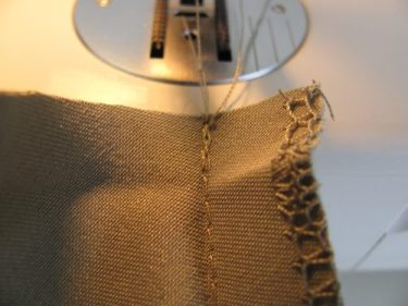 backstitch to lock the end stitches in, rolled hems, 448