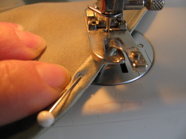 pin the seam allowance and put it back under rolled hem foot, rolled hems, 458