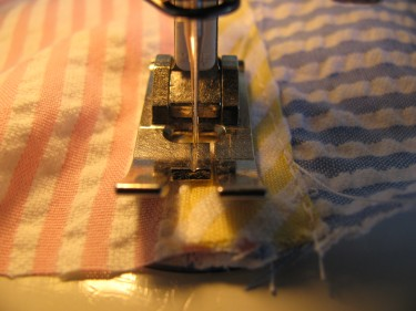 topstitching the zippered to buttoned, 332