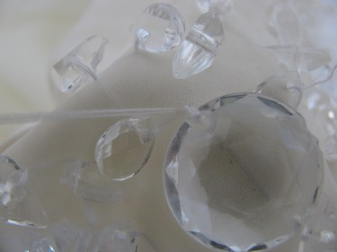 large round clear bead on wedding dress, 706