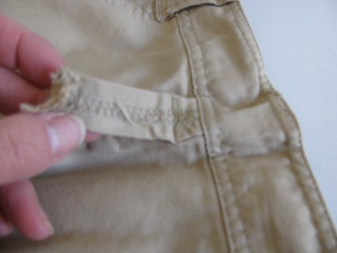 taking off the belt loop on skirt waistband, 729