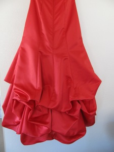 view of back dress with bustles in, red dress, 755
