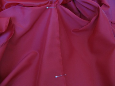 transferred pins to underside of dress, 759, for bustle of red dress