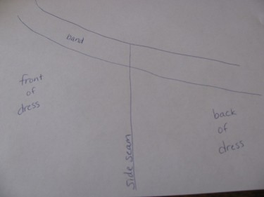 diagram of taking in side seam, 5 sizes too big, 814