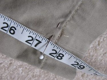 place a pin to mark the hem, hem using the inseam, #831