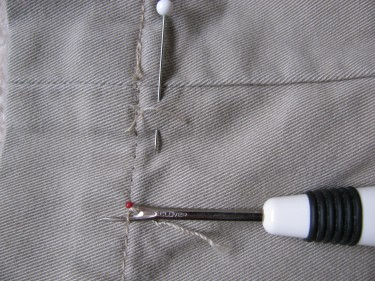 rip out the old hem, hem using the inseam, #833