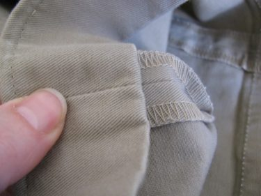 fold hem up twice, hem using the inseam, #852
