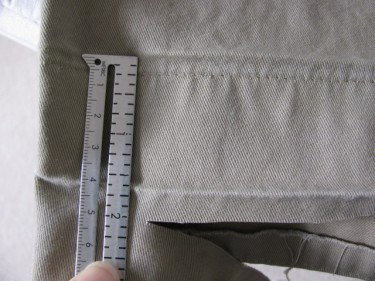 "measure out 2"" and cut off excess, hem using inseam, #855"