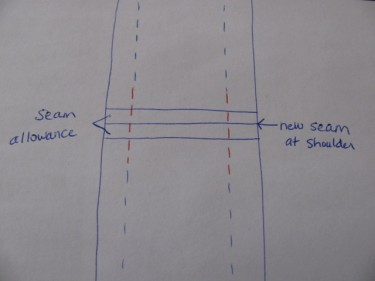 drawing of the concept of taking up the shoulder seam on a wide strap