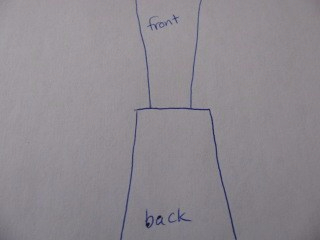 diagram of what it would look like to sew up wide strap edges that don't meet, sewing blog 903