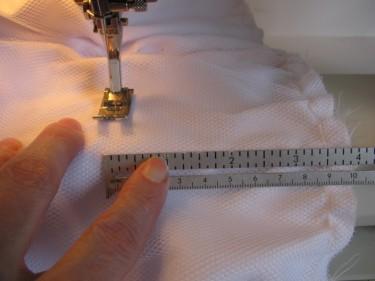 bar tacking the bubble dress hem, 948