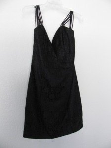 shorten spaghetti straps in a black formal dress
