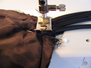 stitching spaghetti straps in place before I cut off excess