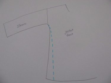 diagram of where to sew side seams when taking them in, 1063