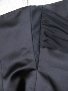 Side view of Michelle's black bridesmaid dress where I put the gusset in, Sewing Garden