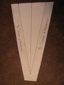 photo of a cut out diagram of a gusset with seam allowances for a dress or top gusset, sewing agarden