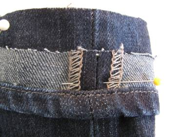 "pin the ""circle"" of hem to the jeans farther up the pant leg"