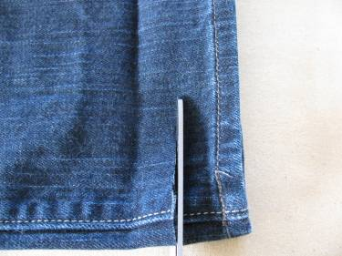 trimming Michelle's jeans