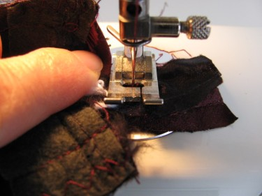 stitch across the strip, altering a dress with piping, 1135