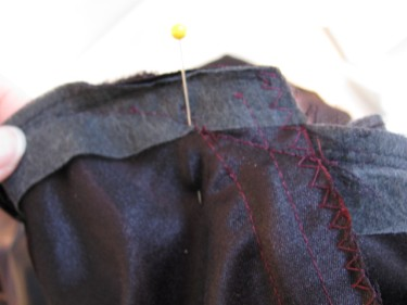 new stitching line, altering a dress with piping, 1146