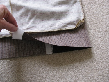 folding fabric in thirds to figure out size of outdoor pillow, 1257