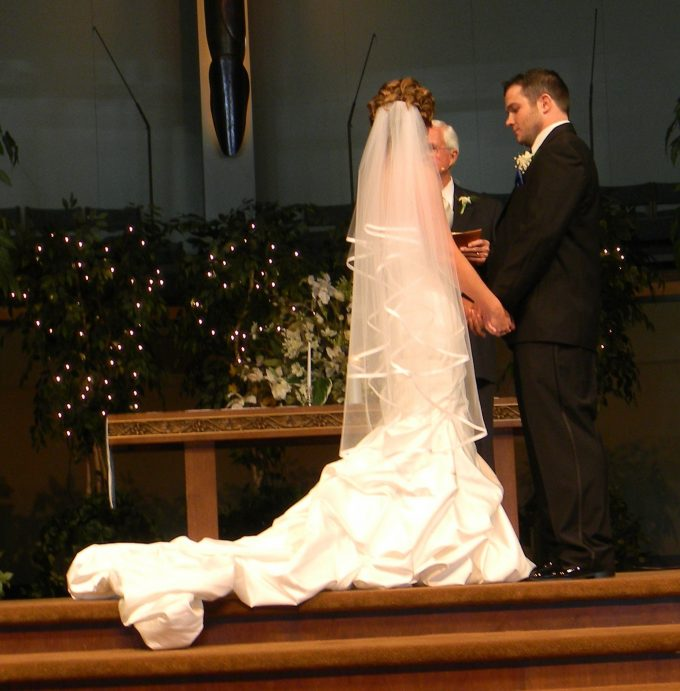M and J at the altar, DIY wedding dress alterations, 391