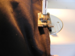 sewing up the lining in the English jacket