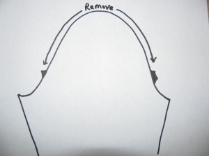 Diagram of how much to rip out of shoulder seam of jacket