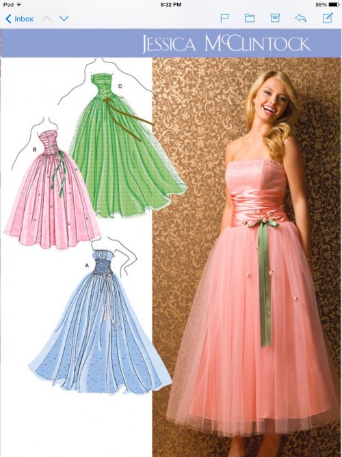 pattern showing several dresses with a tulle skirt, making a tulle skirt,