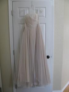 Haley Henckel's tulle dress hanging by the front door