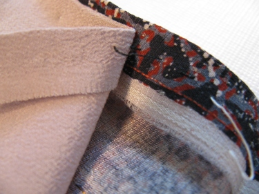 ripping out a section of hemline to stitch a new hem in kimono, IMG_7704