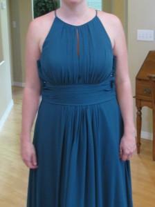 8089, Steph's blue bridesmaid dress, raise the waistline.
