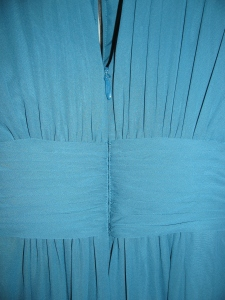 8177, close up of the back of blue bridesmaid dress, raise the waistline