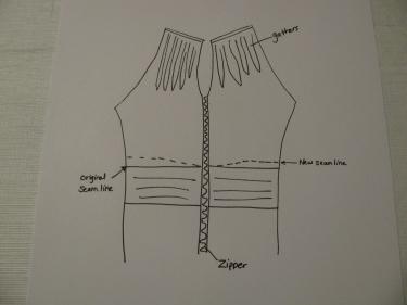 8193, diagram of new waistline seam, how to raise the waist in a dress that has a zipper