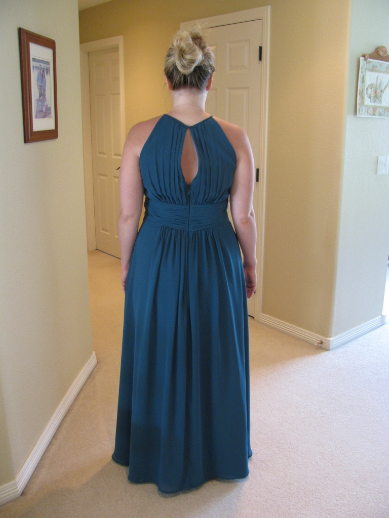 8190 back view of Steph's blue bridesmaid dress, how to raise the waistline without removing the zipper